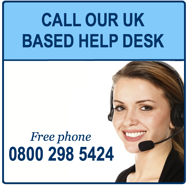call our uk based help desk
