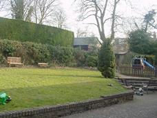 sloping rear garden
